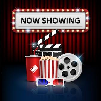 Conceito de plano de fundo do cinema, objeto de cinema na cortina vermelha
