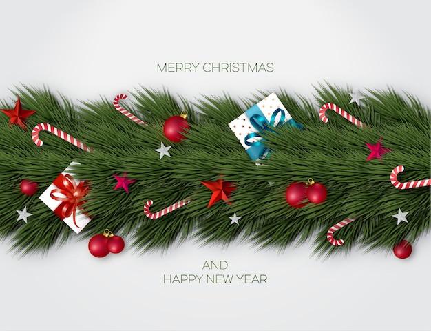 Conceito de plano de fundo do feriado de natal, galhos de árvores de natal decorados