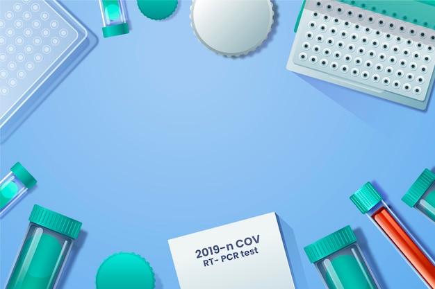 Conceito de plano de fundo do kit de teste de coronavírus