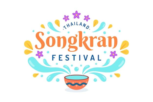 Conceito de plano de fundo songkran plana