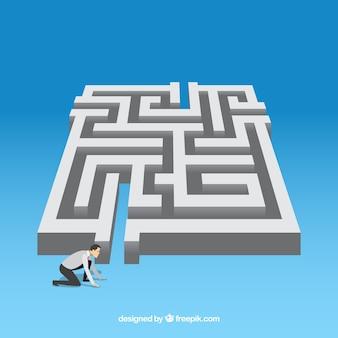 Conceito de plano de negócios com labirinto