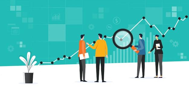 Conceito de plano de trabalho de reunião de equipe de negócios