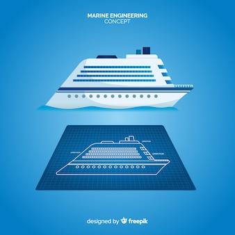 Conceito de planos de engenharia naval de navio de cruzeiro