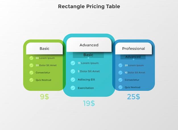 Conceito de planos de preços e assinaturas