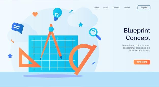 Conceito de planta, campanha de ícone de ferramenta de desenho para o modelo de pouso de página inicial do site web com estilo cartoon