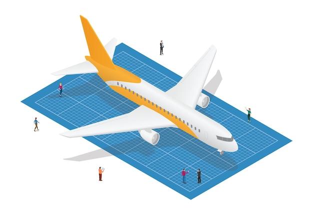 Conceito de planta de avião com pessoas analisam com ilustração vetorial de estilo isométrico moderno