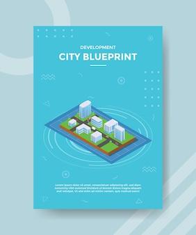 Conceito de planta de cidade para banner e flyer de modelo com estilo isométrico