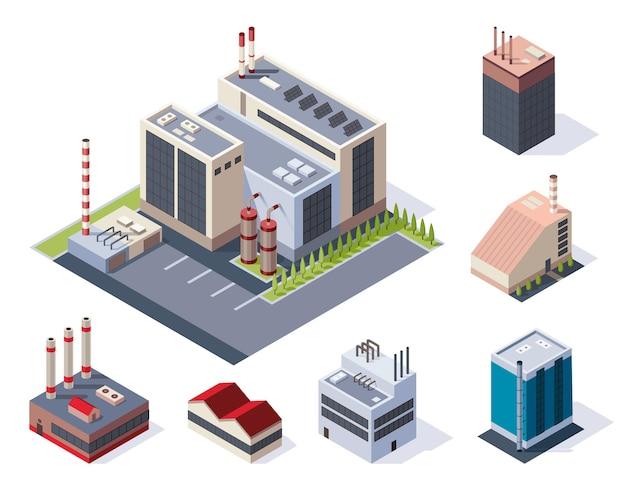 Conceito de plantas de trabalho industriais com torre chaminé