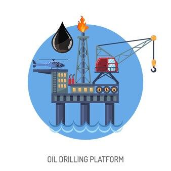 Conceito de plataforma de perfuração de petróleo com extração de ícones planos e gota de óleo. ilustração vetorial isolada