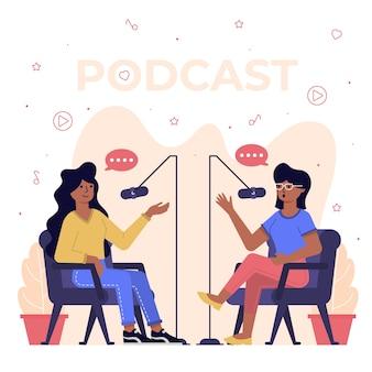 Conceito de podcast com pessoas conversando
