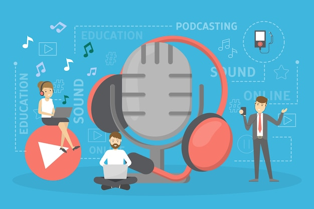 Conceito de podcast. ideia de estúdio de podcasting e pessoas no fone de ouvido conversando com microfone e registro. rádio ou mídia digital. ilustração