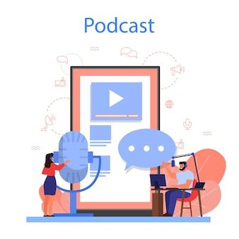 Conceito de podcast. ideia de transmissão de áudio na internet ou rádio.