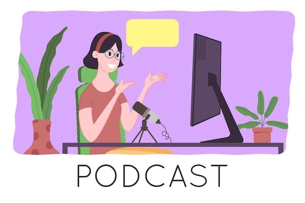 Conceito de podcast. ilustração dos desenhos animados de podcasting. podcaster falando no microfone e gravando podcast de áudio ou show online. o apresentador de rádio transmite no rádio. ilustração em vetor plana.