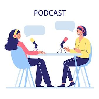 Conceito de podcast ilustração sobre podcasting meninas ouvem som através de fones de ouvido