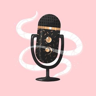 Conceito de podcast microfone ouro conversação áudio conversa monólogo falando conteúdo vector