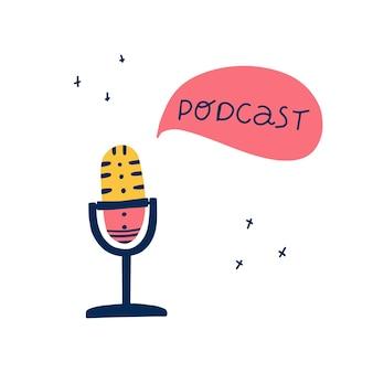 Conceito de podcast para transmissão de rádio, blogging, aprendizagem online gravador de som