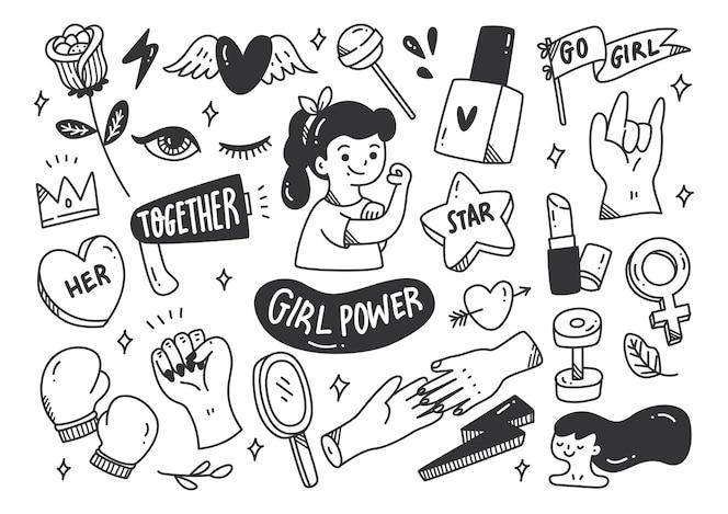Conceito de poder feminino em vetor de estilo doodle
