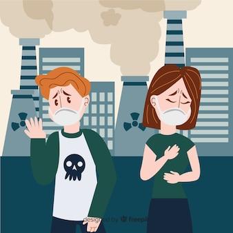 Conceito de poluição com as pessoas na frente da usina