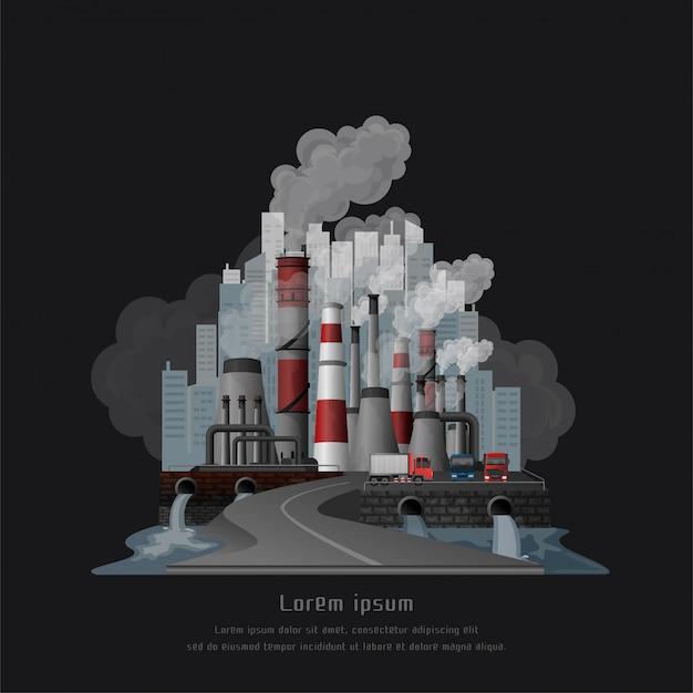 Conceito de poluição do aquecimento global, paisagem urbana fumava atmosfera poluída de emissões de fábricas, vista de tubulações com fumaça e cidade residencial.