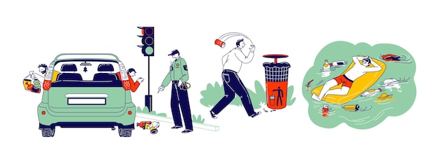 Conceito de poluição. personagens jogam lixo na rua. motorista jogando lixo pela janela do carro, aviso da polícia. homem flutuando no colchão inflável com lixo ao redor. ilustração em vetor de pessoas lineares