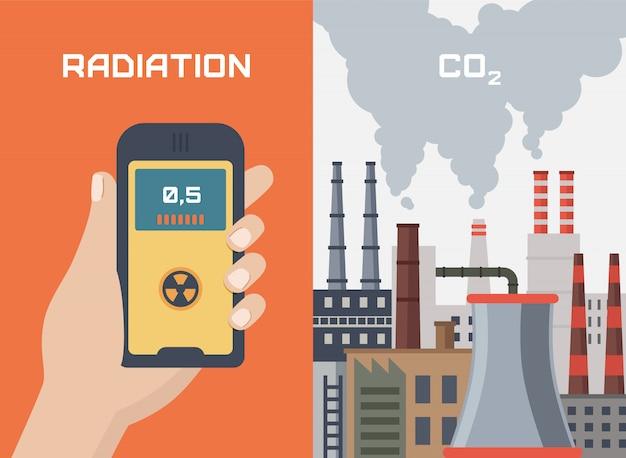 Conceito de poluição por radiação pelas fábricas. mão com dosímetro