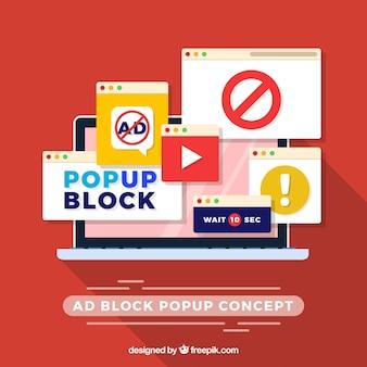 Conceito de pop-up de bloco de anúncios em estilo simples