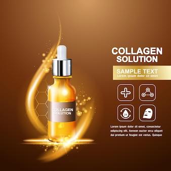 Conceito de pôster de soro de colágeno e vitamina para cuidados com a pele