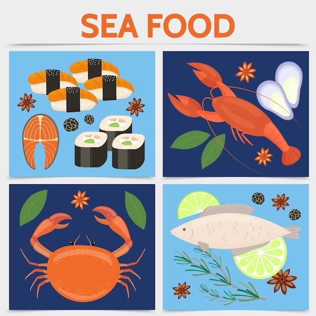 Conceito de praça plana de frutos do mar
