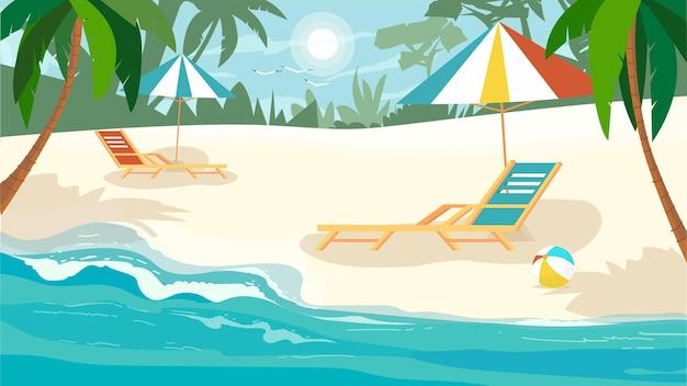Conceito de praia de verão em design plano dos desenhos animados. descanse no verão à beira-mar. praia de areia com palmeiras, espreguiçadeiras com guarda-sóis, praia de mar ou oceano. fundo horizontal da ilustração vetorial