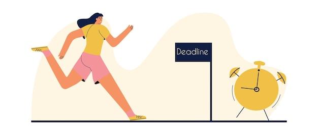 Conceito de prazo. a garota corre para o relógio. ilustração vetorial