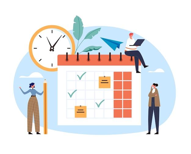Conceito de prazo de organização de lista de verificação de calendário diário de cronograma de planejamento de prazo do organizador.