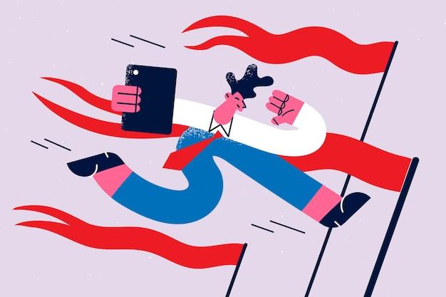 Conceito de prazos, sucesso e oportunidades de negócios. jovem empresário com laptop correndo na linha de chegada com bandeiras vermelhas se sentindo feliz ilustração vetorial