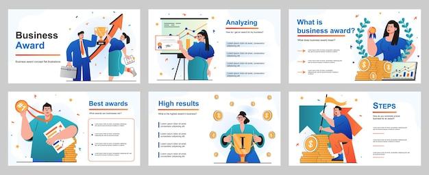 Conceito de prêmio empresarial para modelo de slide de apresentação empresários e mulheres de negócios