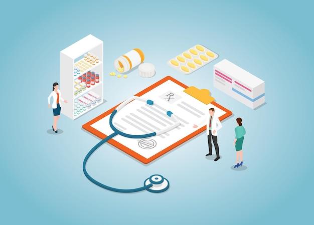 Conceito de prescrição médica com enfermeira e tablet de drogas com estilo isométrico moderno