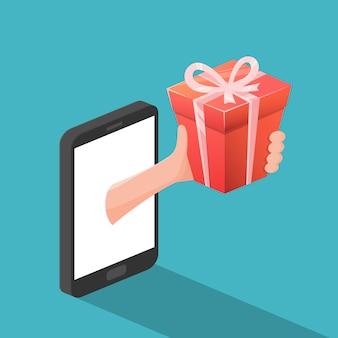 Conceito de presente on-line por smartphone