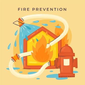 Conceito de prevenção de incêndio desenhado à mão