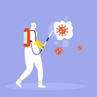 Conceito de prevenção do coronavírus, homem em traje de proteção e máscara pulveriza e desinfeta o vírus. epidemia ou pandemia global. covid-19, doença do coronavírus. vetor