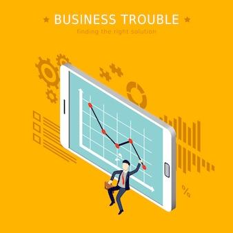 Conceito de problemas de negócios 3d design plano isométrico