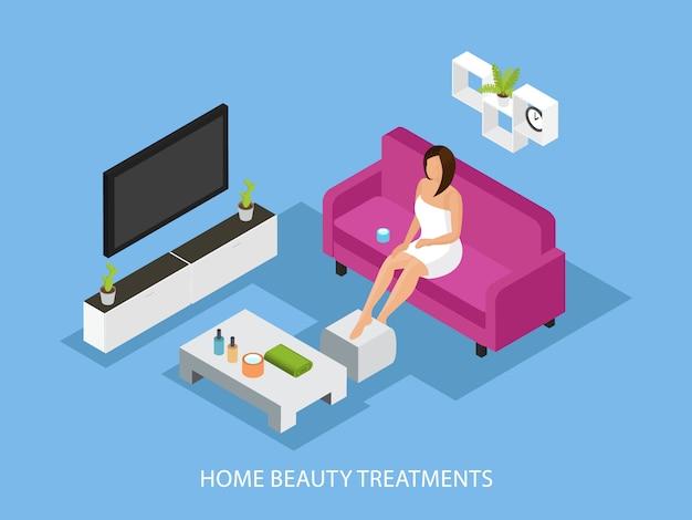 Conceito de procedimento isométrico para cuidados com a pele em casa