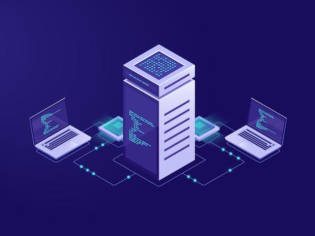 Conceito de processamento de dados grandes, sala de servidores, acesso ao token de tecnologia blockchain