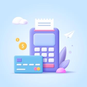 Conceito de processamento de pagamentos. transações financeiras, cartão de banco, terminal para processo de compra, moedas monetárias. ilustração em vetor 3d.