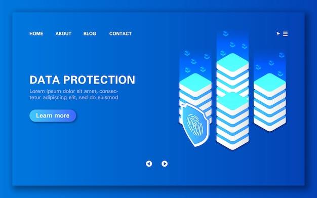 Conceito de processamento e proteção de dados de rede blockchain isométrica plana