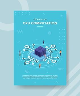 Conceito de processamento ou computação de dados cpu para banner e flyer de modelo com vetor de estilo isométrico