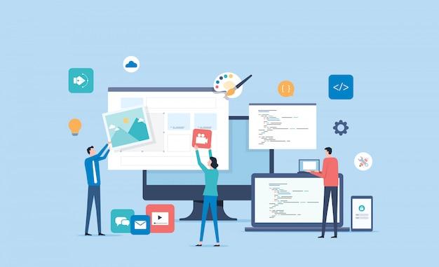 Conceito de processo de design de web design e aplicações móveis com o conceito de trabalho de colaboração de equipe de designer e desenvolvedor