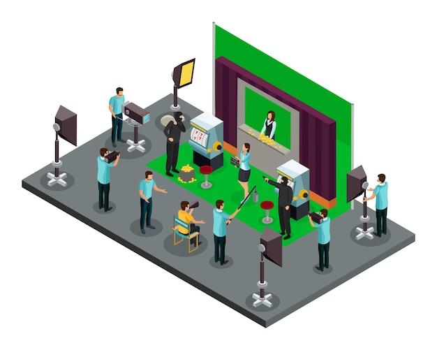 Conceito de processo de filmagem isométrica com iluminadores de operadores de diretor e atores fazendo cena de roubo de filme