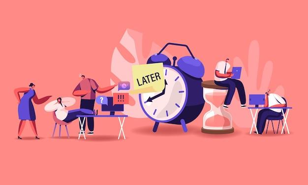 Conceito de procrastinação. ilustração plana dos desenhos animados