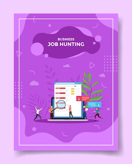 Conceito de procura de emprego pessoas lupa vaga no laptop
