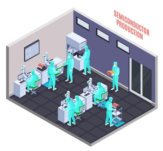 Conceito de produção de semicondutores com símbolos de tecnologia e ciência isométricos