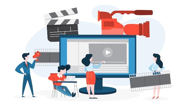 Conceito de produção de vídeo. idéia de filme de filmagem