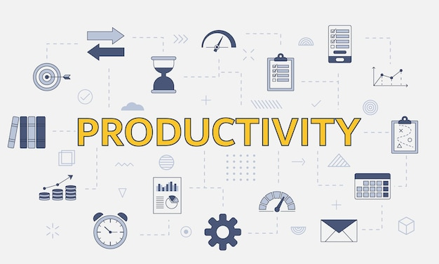 Conceito de produtividade com conjunto de ícones com palavra grande ou texto no centro
